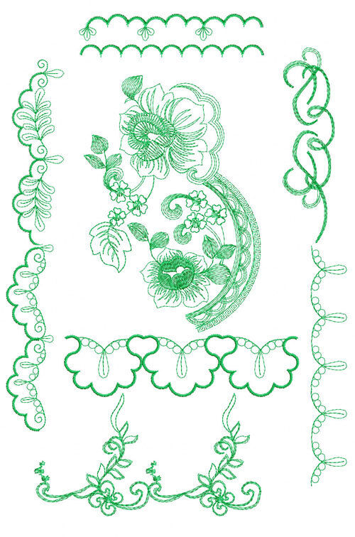 Rose and borders machine embroidery designs ebay