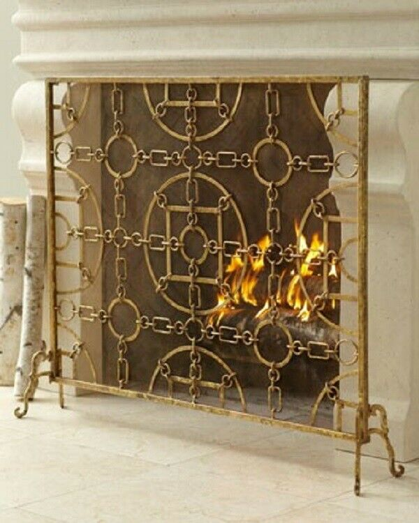 Italian Gold Iron Equestrian Design Fireplace Screen Single Panel Mesh Back Ebay