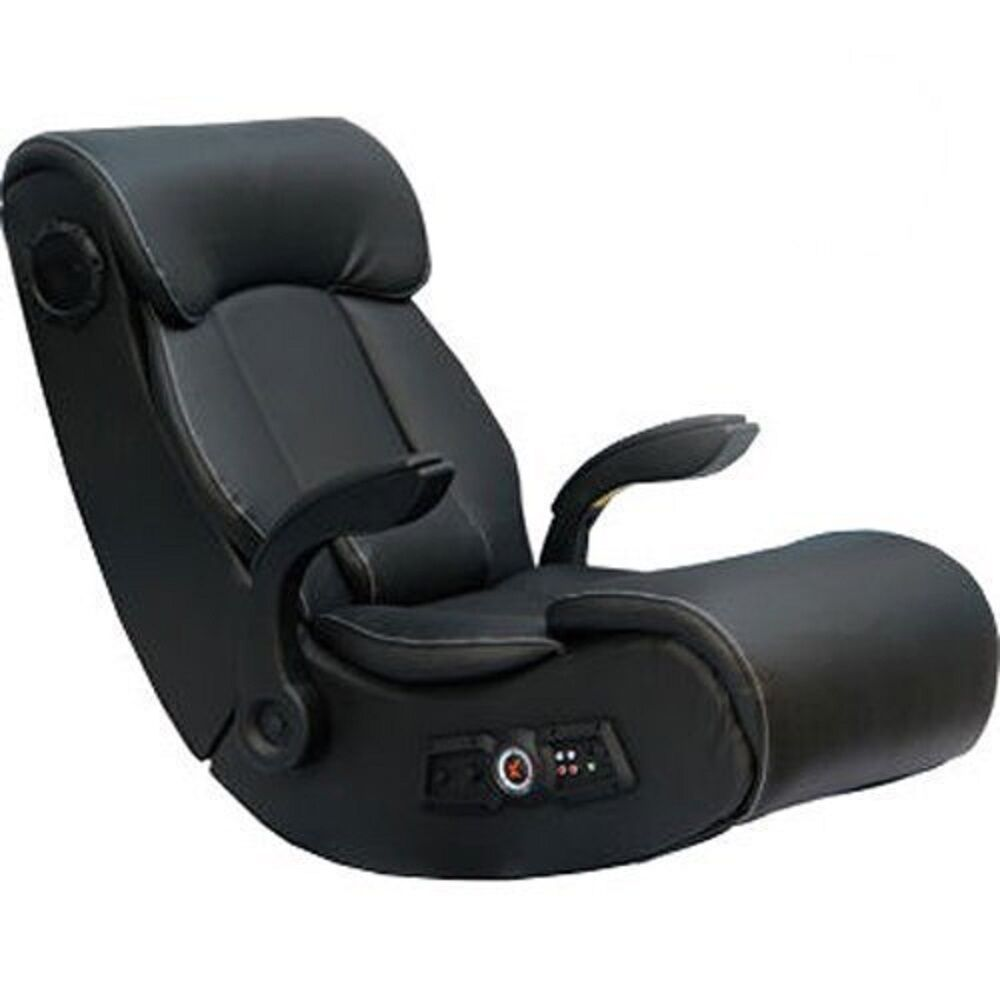 x rocker wireless black gaming chair with bluetooth audio 2 1 speakers ebay. Black Bedroom Furniture Sets. Home Design Ideas