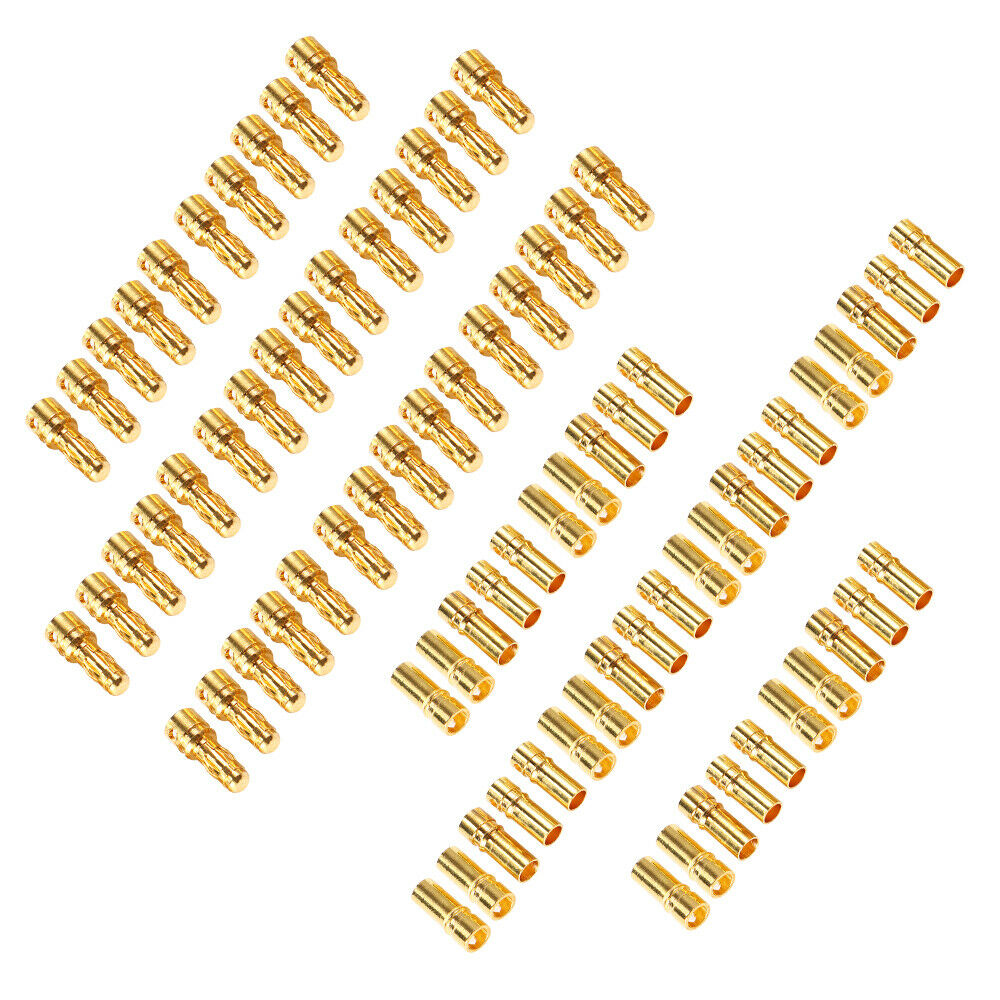 40 Pairs 3 5mm Gold Bullet Connector Plug Male Amp Female