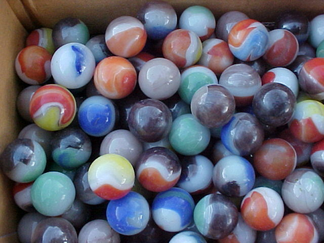 300 Mixed Vintage Vitro Agate Marbles From A Large Mixed