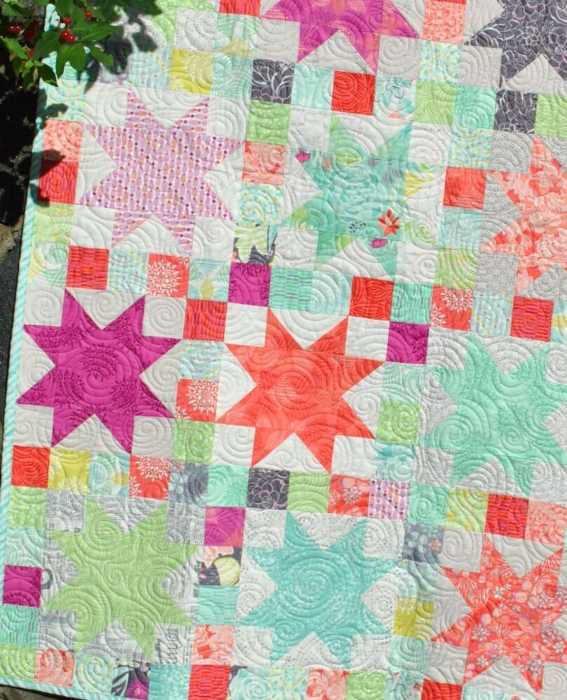 Quilt Pattern For 9 Fat Quarters : Patchwork QUILT PATTERN Layer Cake or Fat Quarters, Repro Pattern Stars eBay
