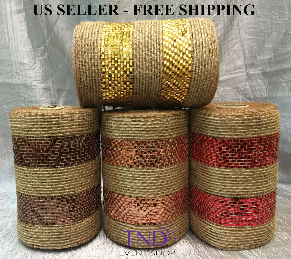6 X 10 Yards Metallic Burlap Deco Mesh Wrap Roll Spool