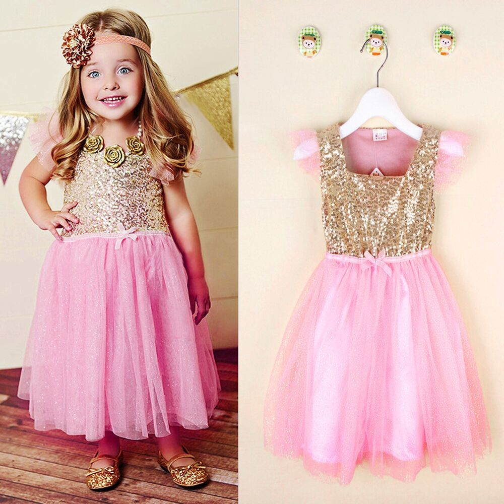 Girls Sequins Princess Dress Toddler Baby Wedding Party