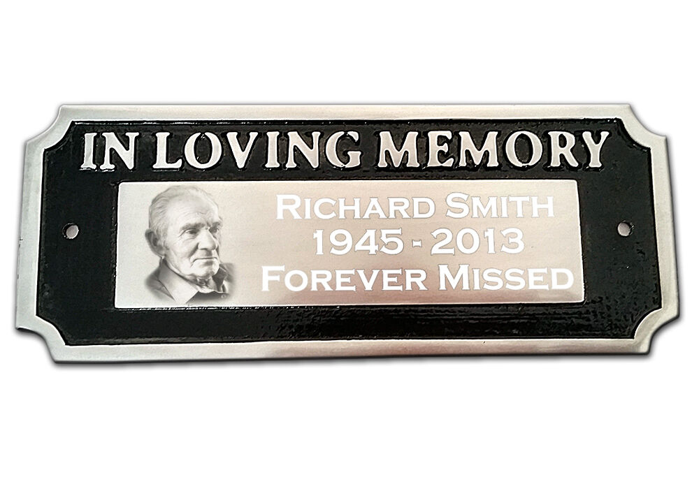 memorial plaque in loving memory photo and text engraved aluminium bench sign ebay. Black Bedroom Furniture Sets. Home Design Ideas