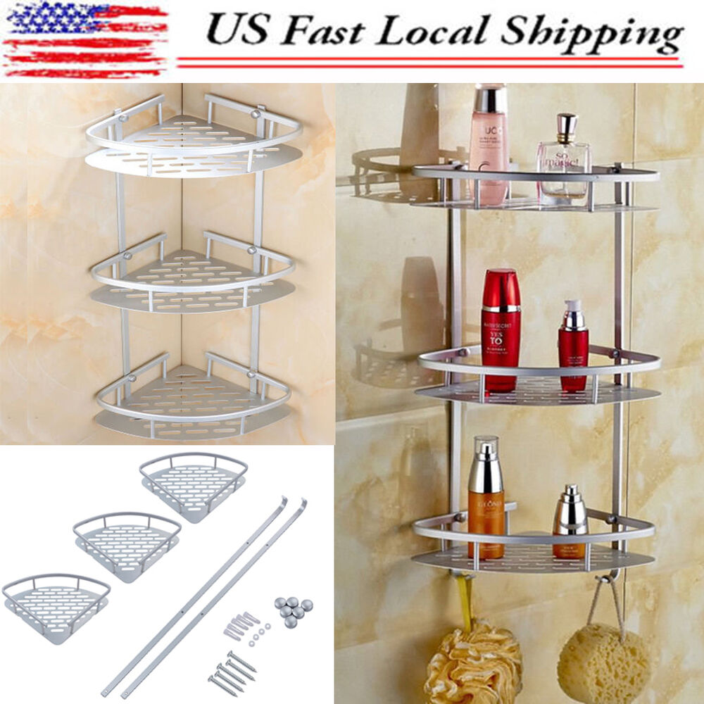 3 Layer Triangular Shower Shelf Bathroom Corner bath Rack ...