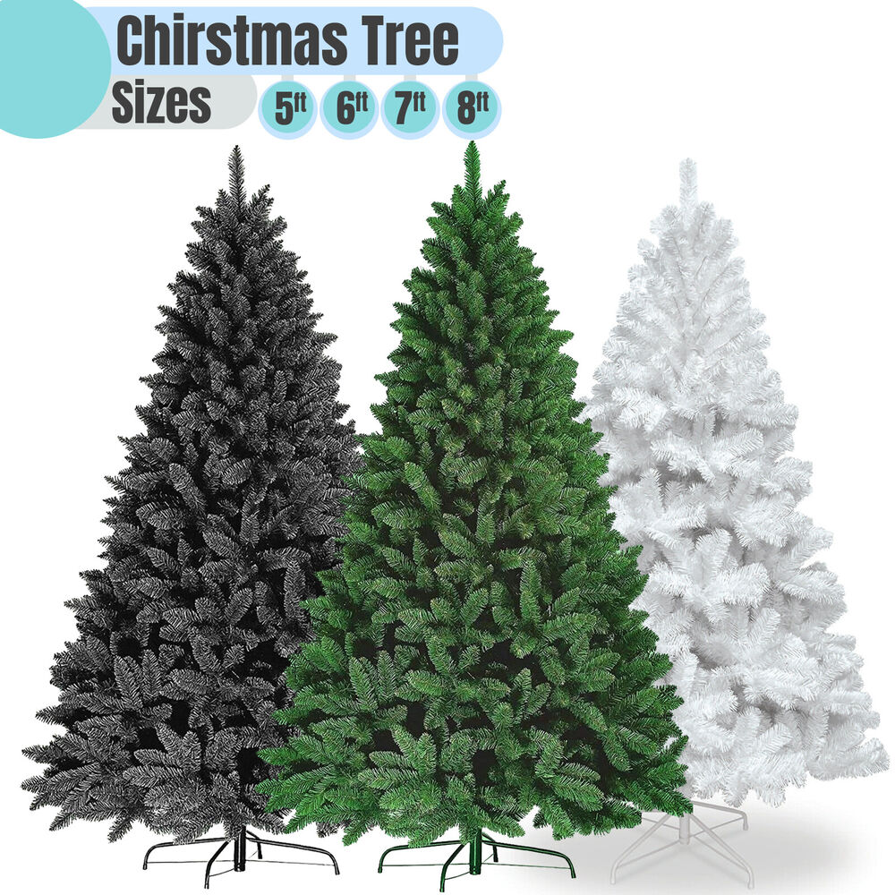 Black Artificial Christmas Trees: 5FT 6FT 7FT WHITE GREEN BLACK XMAS ARTIFICIAL CHRISTMAS