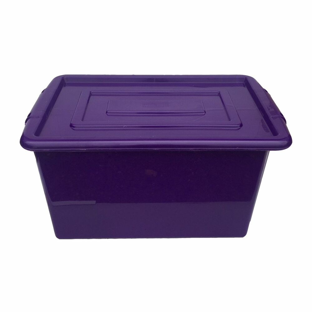 PURPLE PLASTIC MEDIUM 32L LITRE STORAGE BOX TUB CONTAINER WITH LID TOY BOX  KIDS | EBay