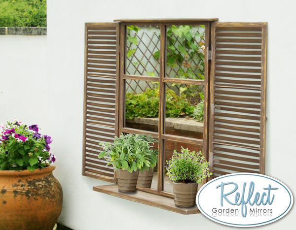 Country Garden Glass Mirror With Shutters Outdoor Illusion
