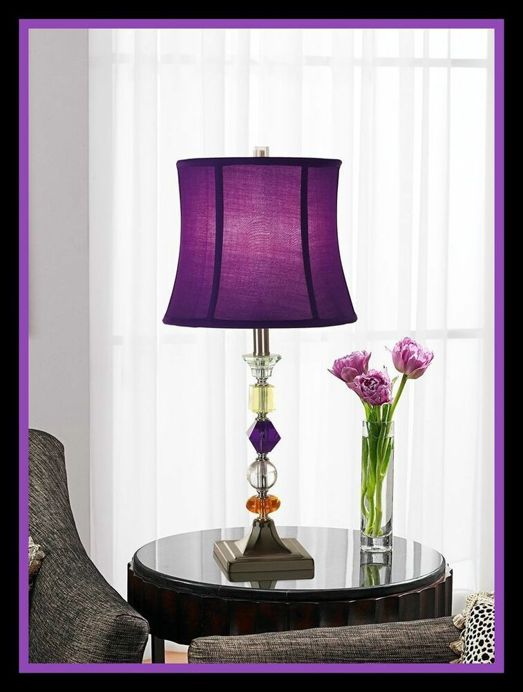 Purple End Table Floor Lamp Crystal Accent Dorm Room