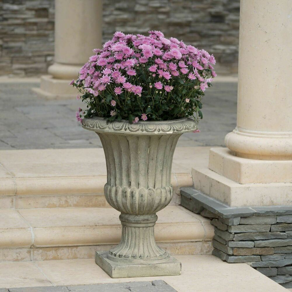 25 Quot Tall Aged Green Stone Decor Outdoor Garden Urn Planter