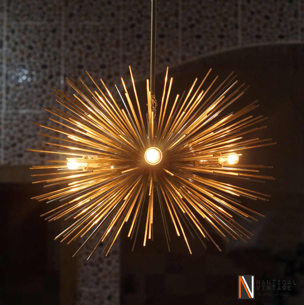 Mid century 5 bulbs gold brass sphere urchin chandelier light fixture ebay - Light fixtures chandeliers ...