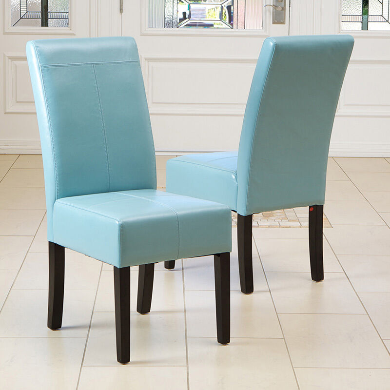 Set of 2 dining room teal blue leather parsons dining for Low back parsons dining chair