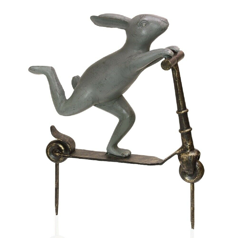 Scooter bunny rabbit garden sculpture whimsical metal for Whimsical garden statues