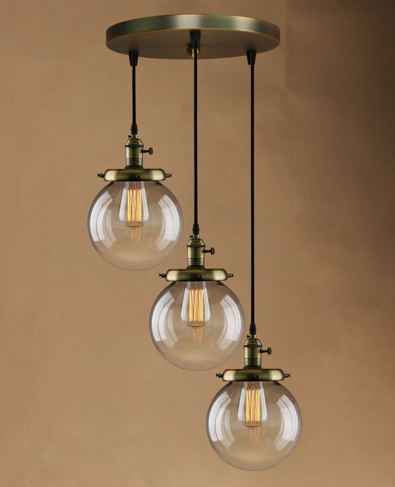 Retro vintage cluster hanging ceiling lights globe 3 glass shades pendant lamp ebay - Chandelier ceiling lamp ...