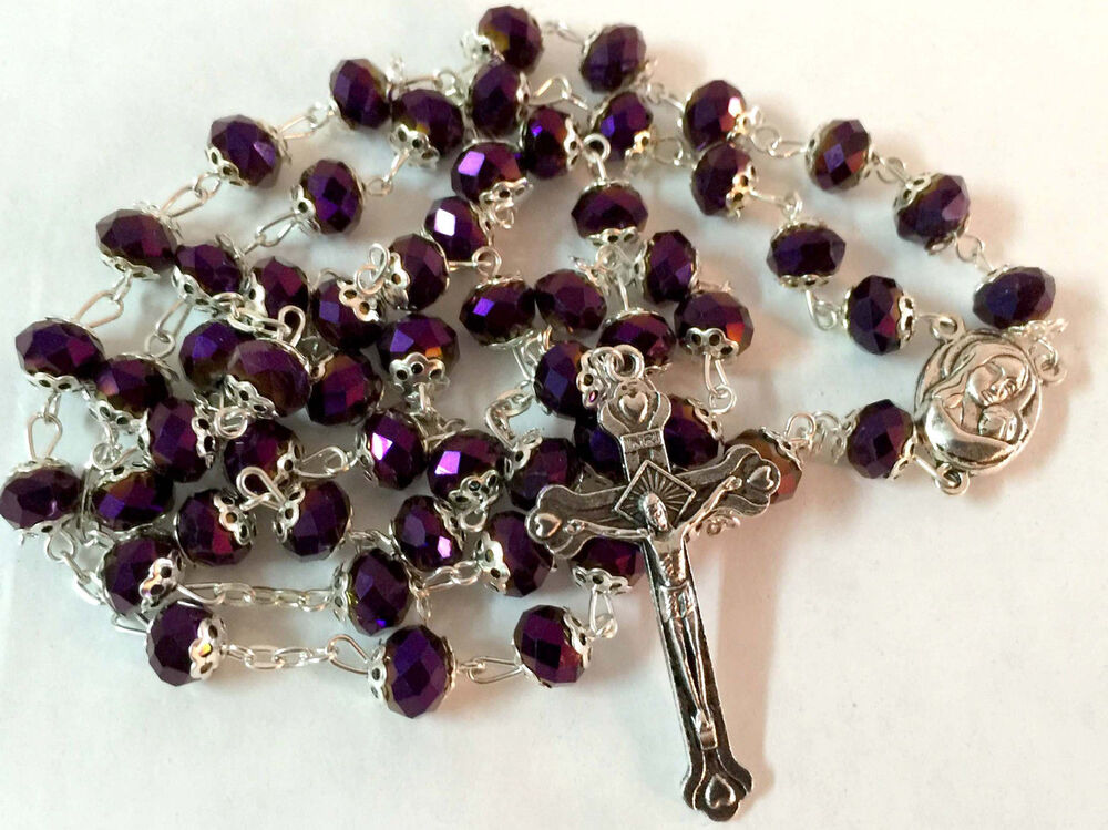Purple Crystal Beads Rosary Catholic Necklace Holy Soil