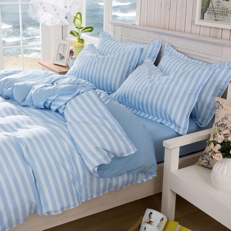 blue strip single double queen king size bed set