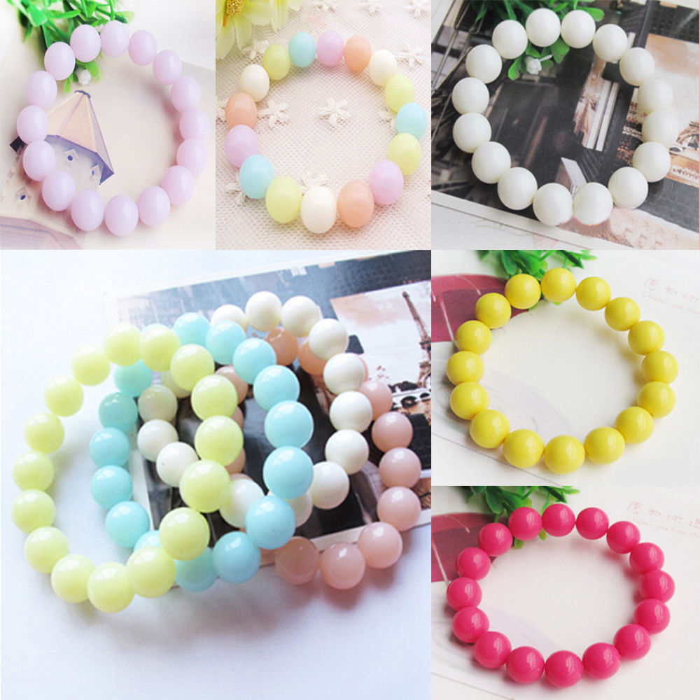 Womens Girls Acrylic Beads Bracelet Fashion Cute Sweet ...