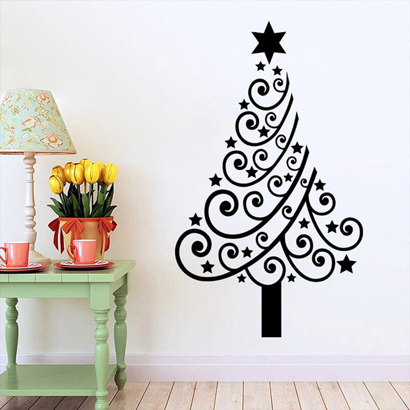 Christmas tree star mural removable wall sticker vinyl for Christmas wall mural plastic