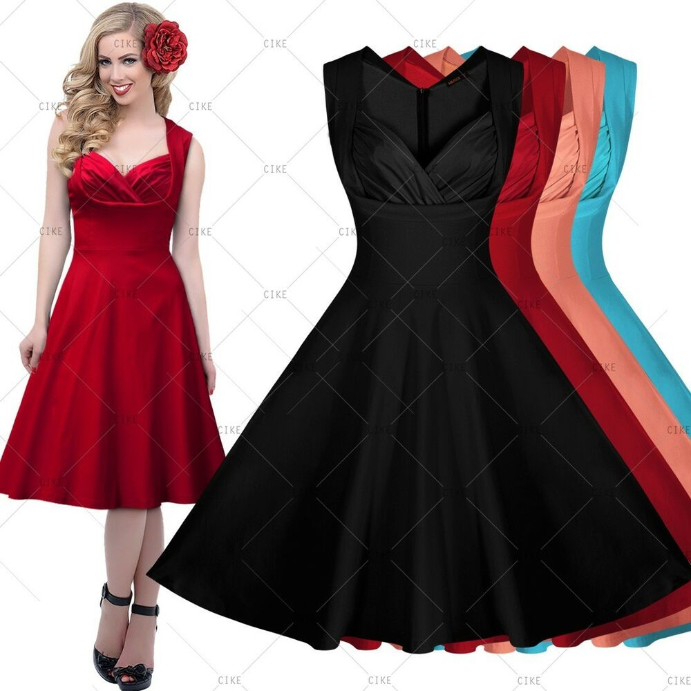 Women Vintage 1950's Sexy Rockabilly V-Neck Cocktail Party ...