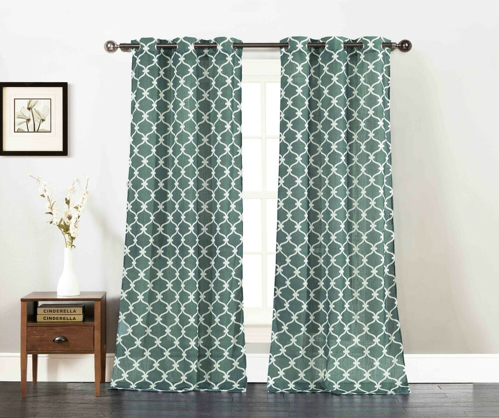 Set of two window curtain panels teal with white moroccan for Window panel design