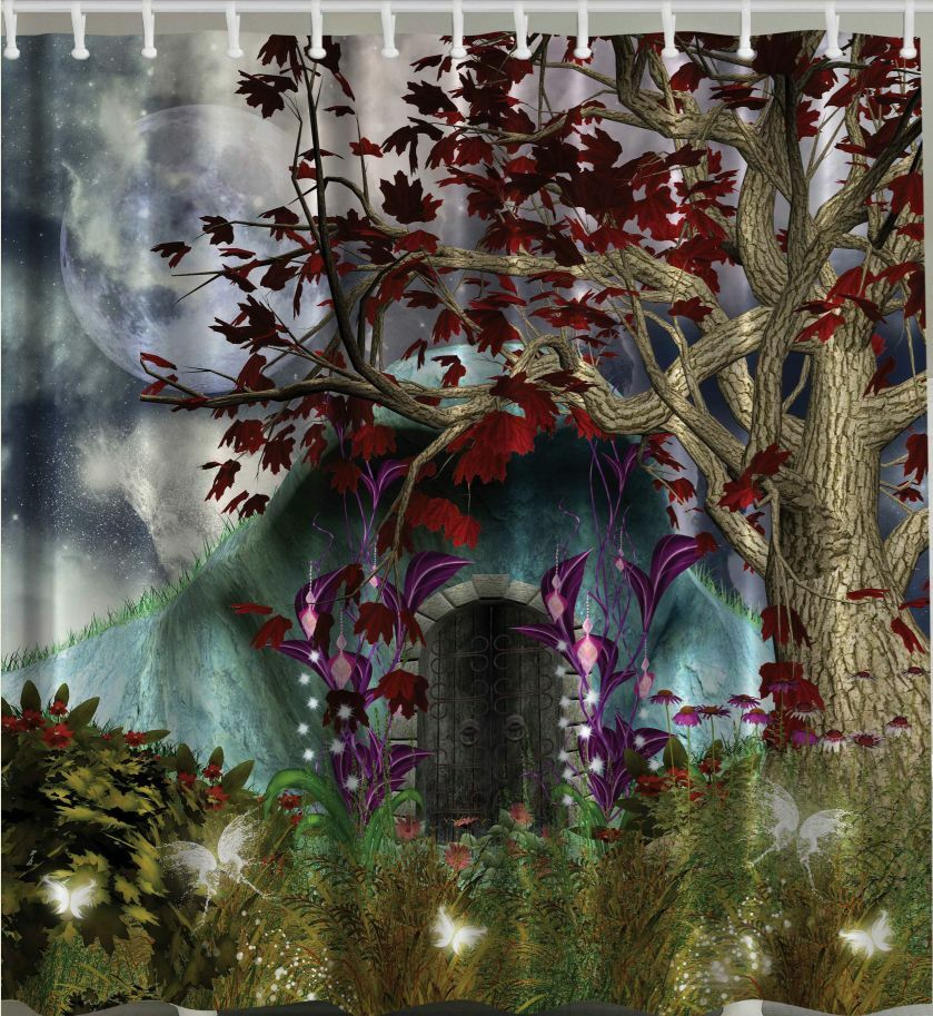 Magical Forest SHOWER CURTAIN Enchanted Moon Cave Tree