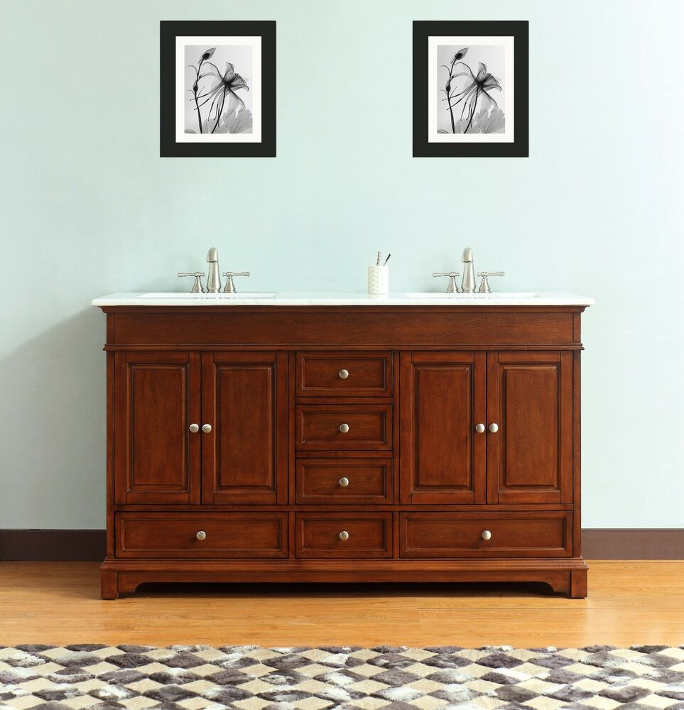 60 In Free Standing Double Sink Bathroom Vanity Solid Wood