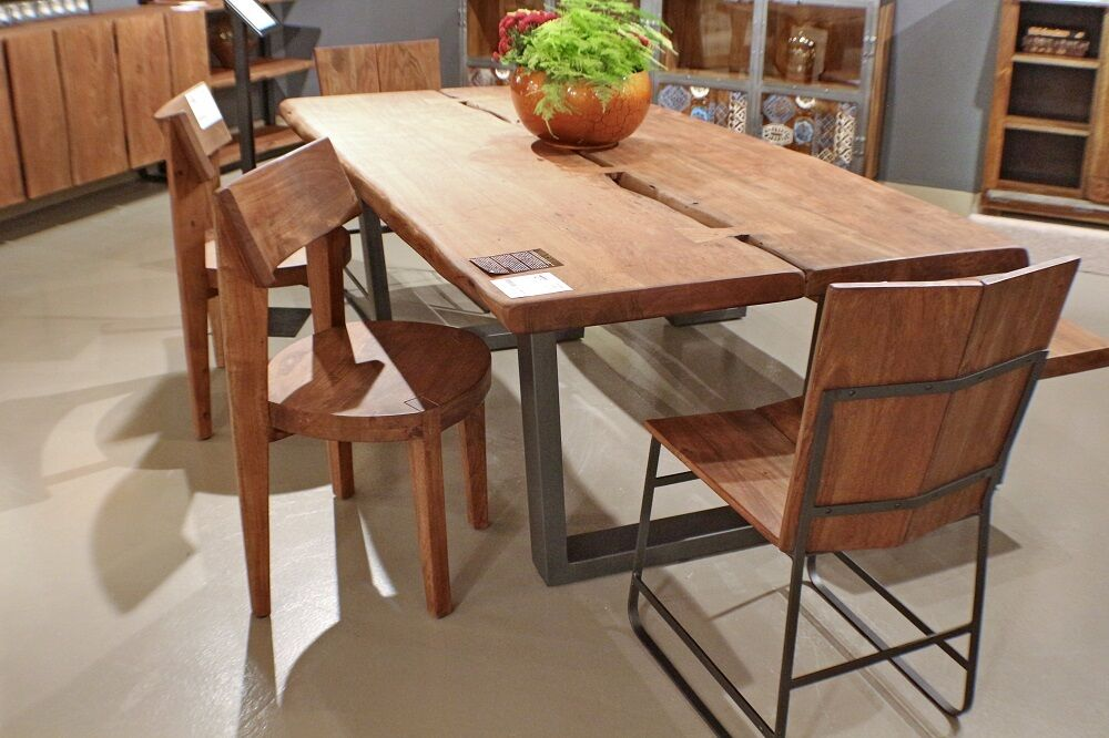 79 Quot L Dining Table Live Edge Iron Black Legs Solid Acacia