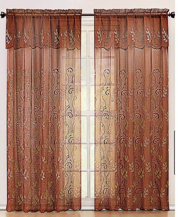 Cinnamon And Gold Embroidered Sheer Window Curtain Panel