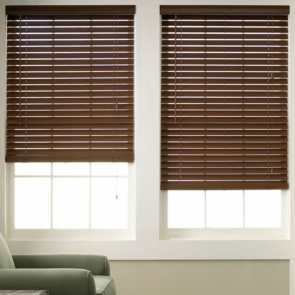 wood grain faux wood blinds 6 colors free shipping ebay. Black Bedroom Furniture Sets. Home Design Ideas