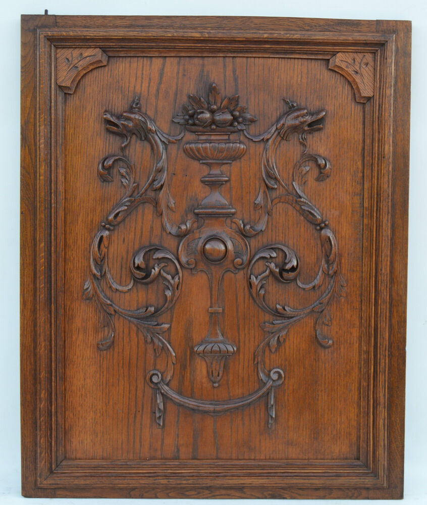 French antique carved oak wood architectural door panel for Wood carving doors hd images