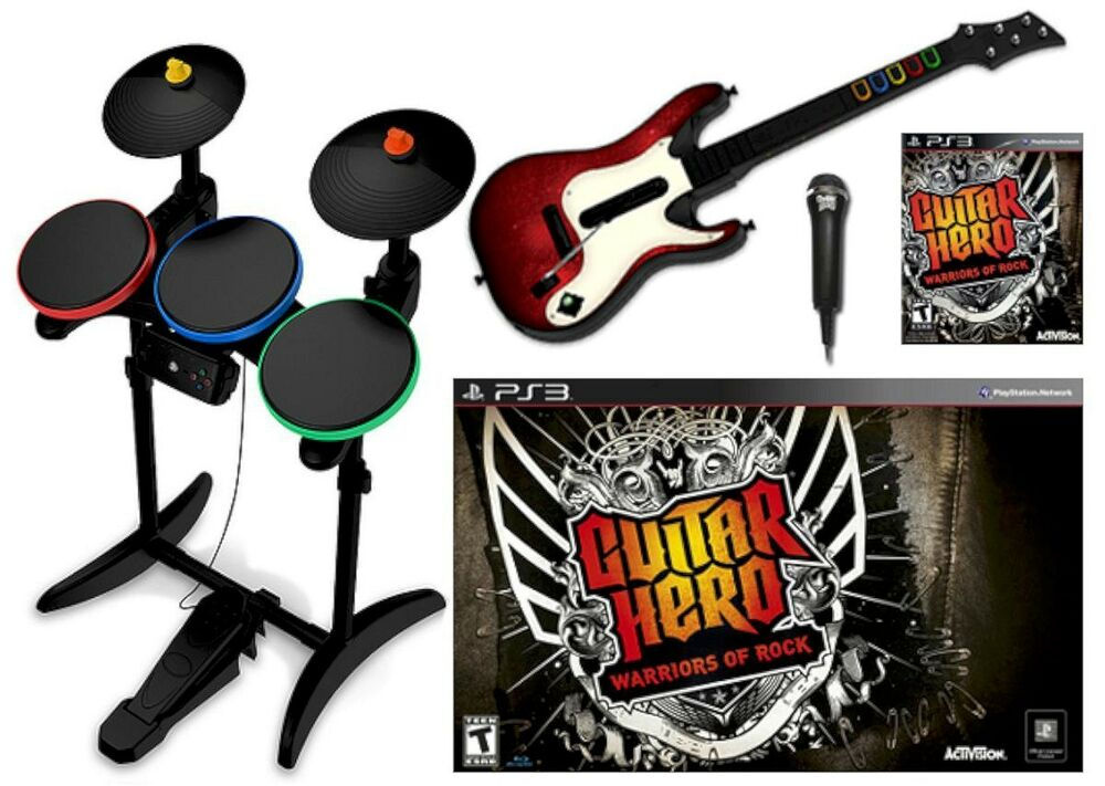 ps3 guitar hero warriors of rock super bundle set game kit. Black Bedroom Furniture Sets. Home Design Ideas