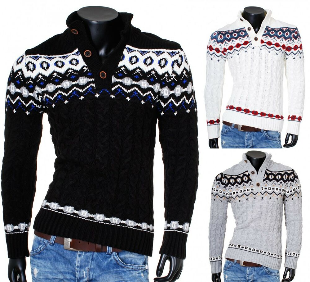 carisma herren norwegerpullover strickpullover knopfleiste stehkragen slimfit ebay. Black Bedroom Furniture Sets. Home Design Ideas