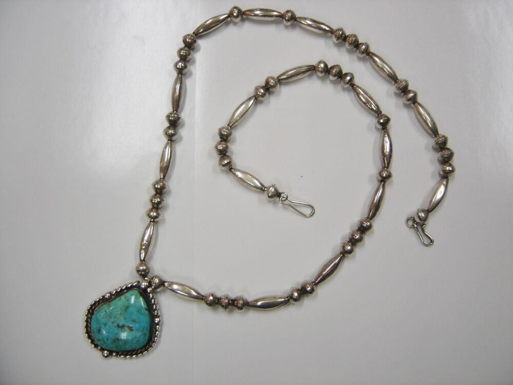 Southwest Sterling Turquoise Beaded Necklace 0011 T Ebay