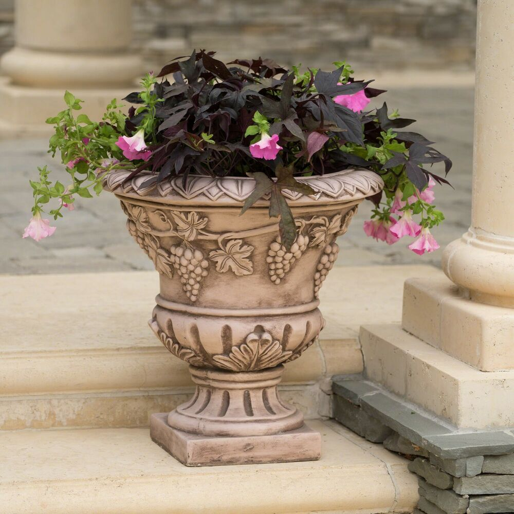 large 21 brown stone roman decor outdoor garden urn planter flowers pot ebay