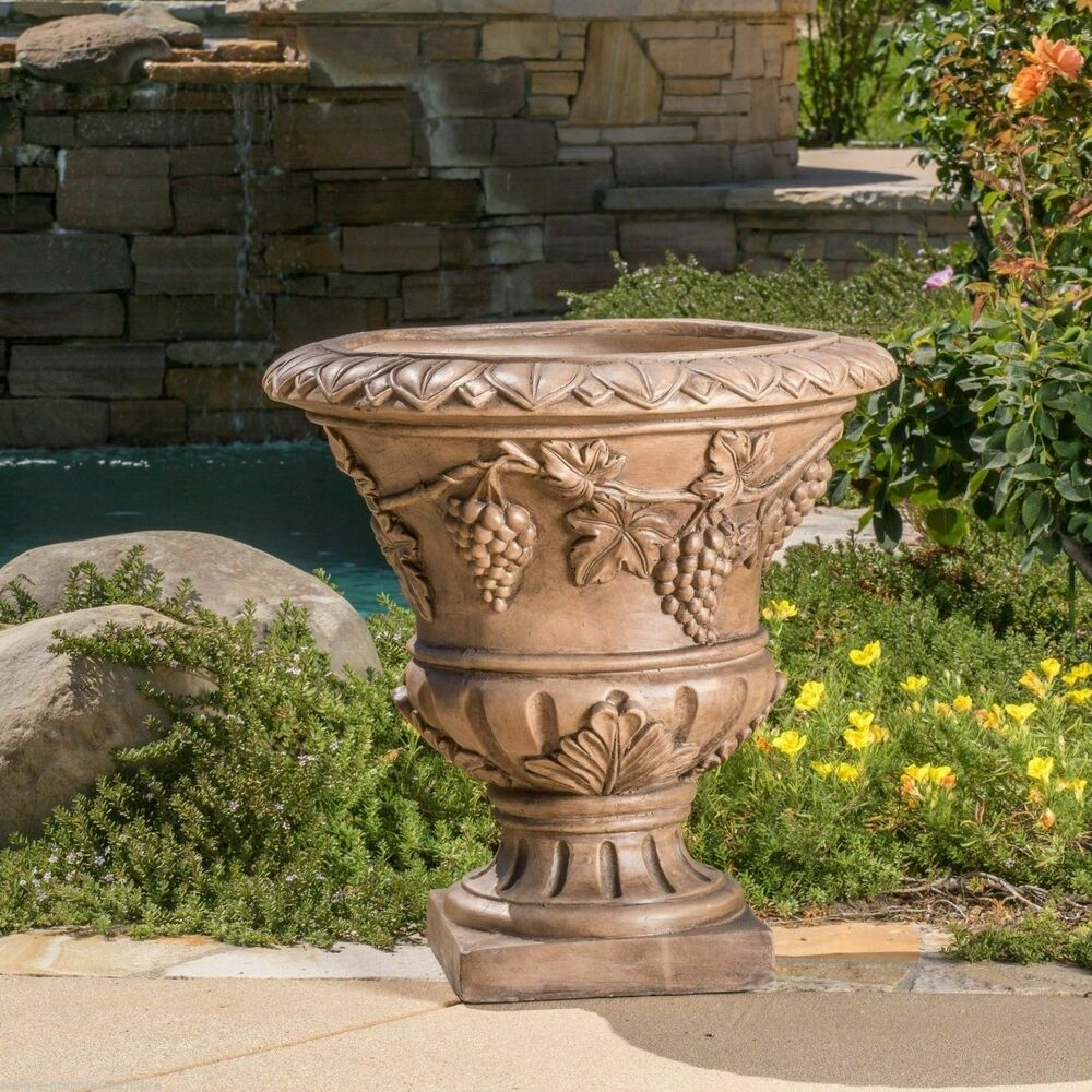 large 21 brown stone roman decor outdoor garden urn. Black Bedroom Furniture Sets. Home Design Ideas