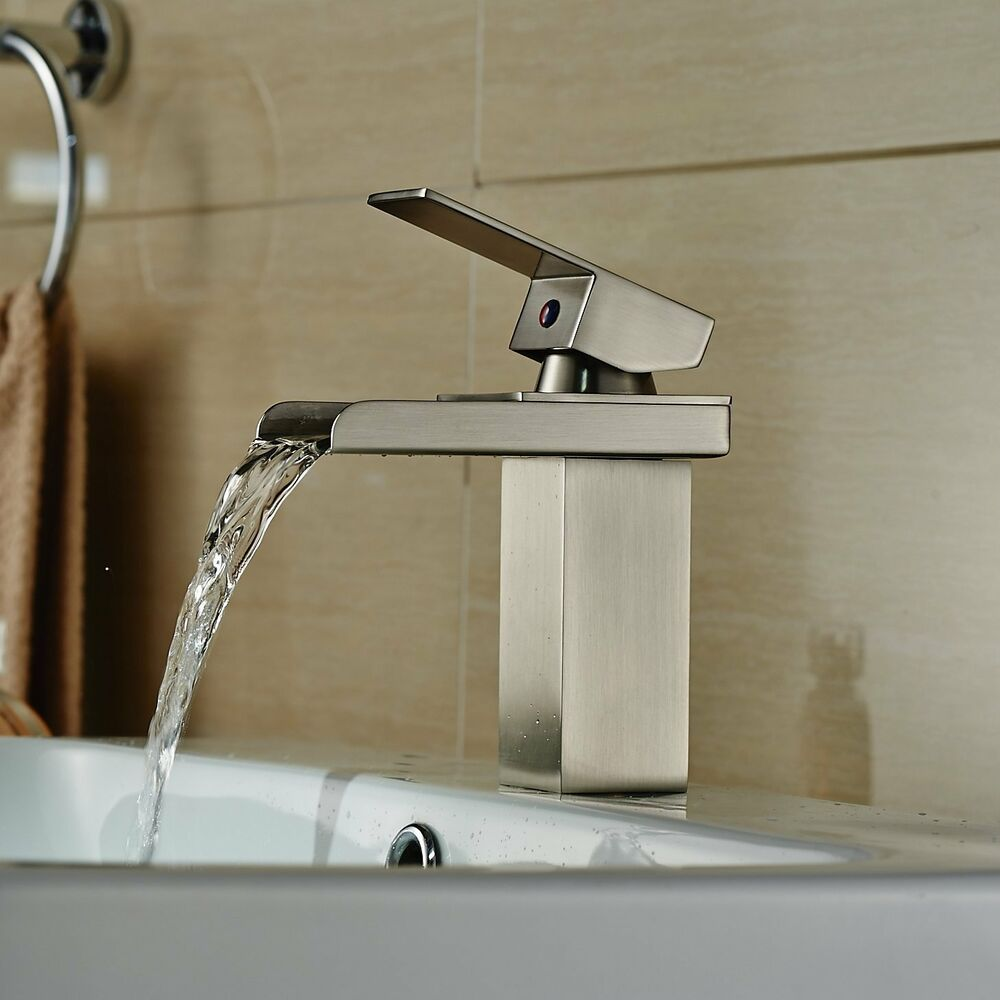 Bathroom faucet waterfall brushed nickel one hole single handle mixer taps ebay for Single hole waterfall bathroom faucet