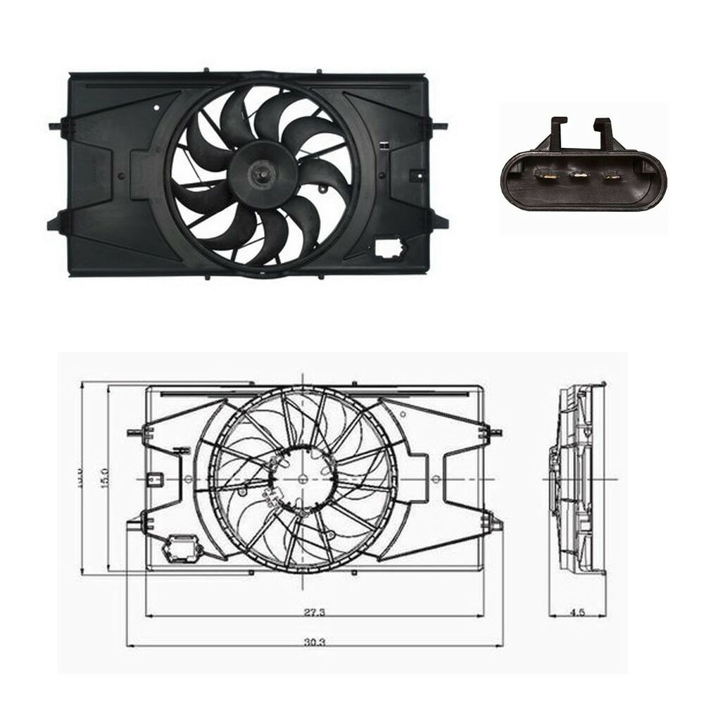 electric radiator cooling fan assembly fits 2005 2010. Black Bedroom Furniture Sets. Home Design Ideas