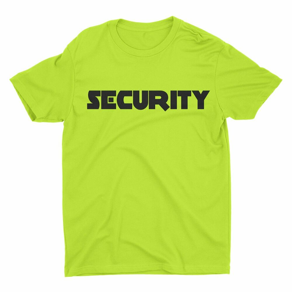 Neon Security T-Shirt Front & Back Print Mens Event Shirt ...