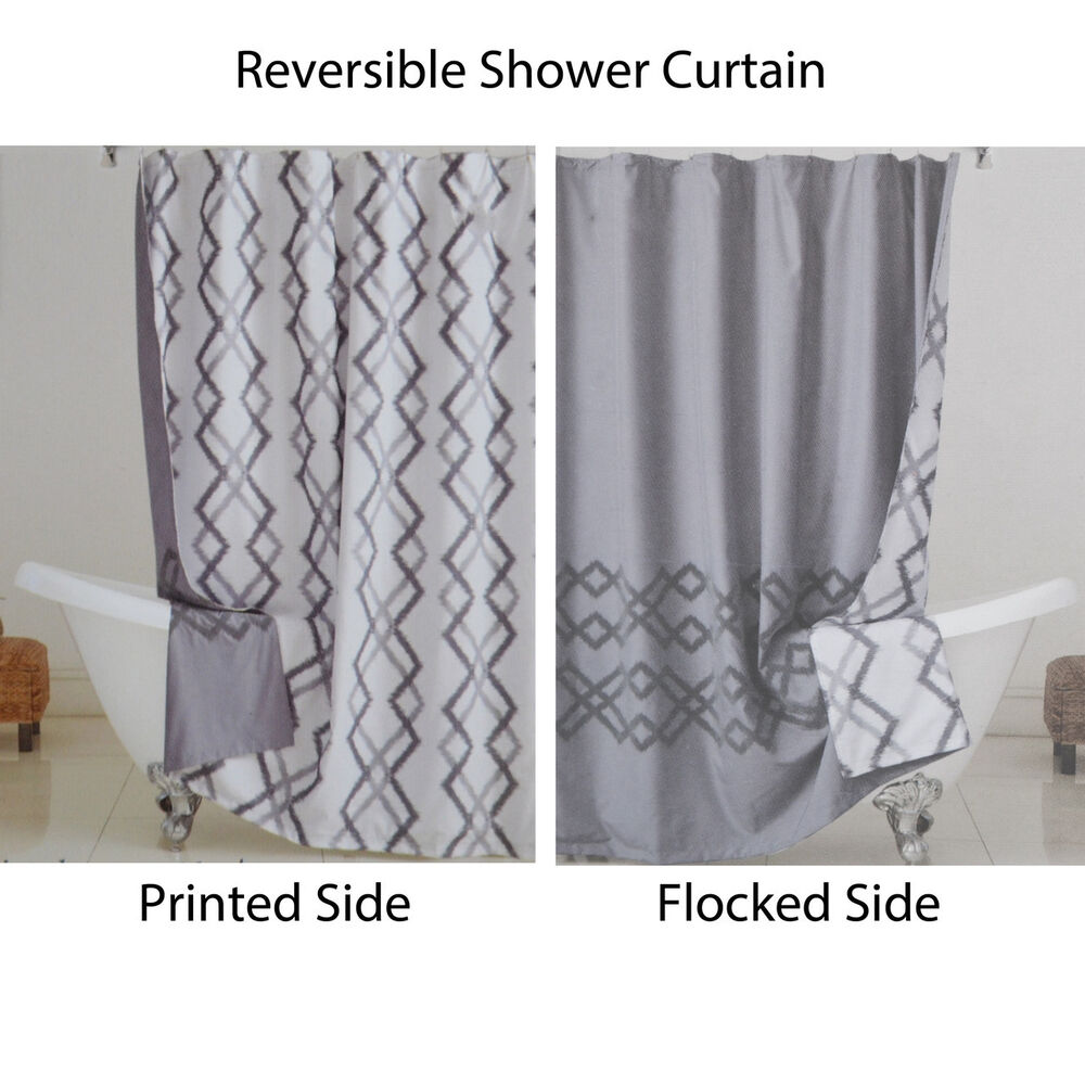 Reversible Fabric Shower Curtain Gray And White Ikat Design Ebay