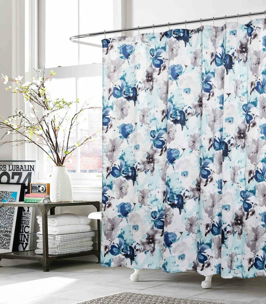 Fabric Shower Curtain Indigo Teal Gray White Floral