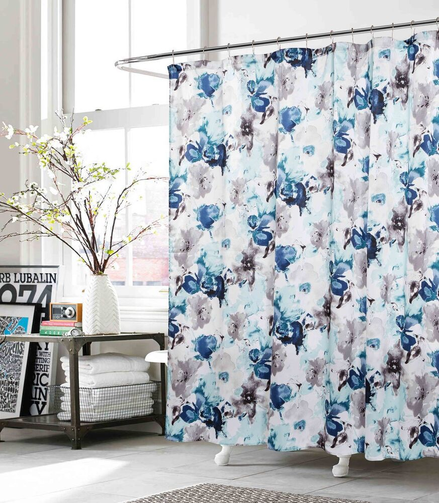 Fabric Shower Curtain Indigo Teal Gray White Floral Design EBay