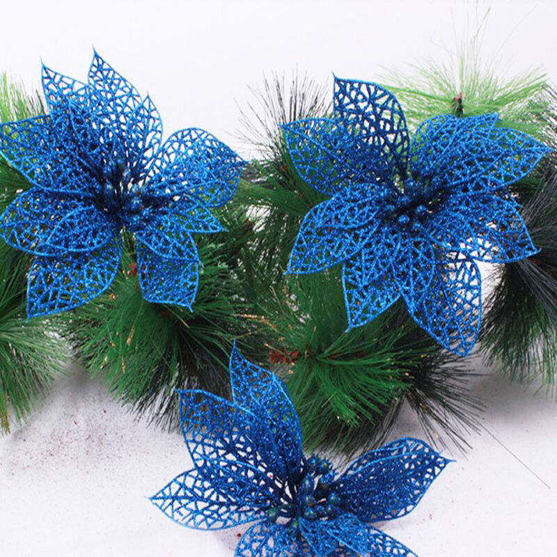 6 glitter hollow wedding party decor christmas flowers for California floral and home christmas decorations