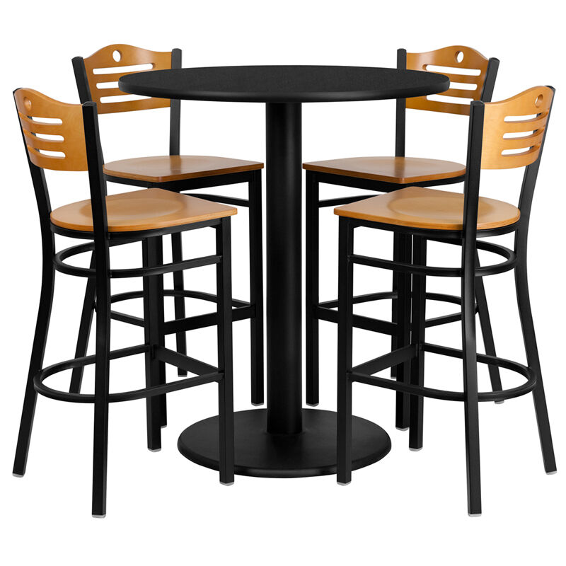 "Round Table With Stools: 36"" Round High-Top Restaurant/Cafe/Bar Table And Wood Seat"