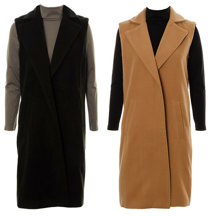 d71a3c73443aad Details about Women s Smart Gilet Sleeveless Trench Coat Ladies Casual Midi  Length Waitcoat Ja