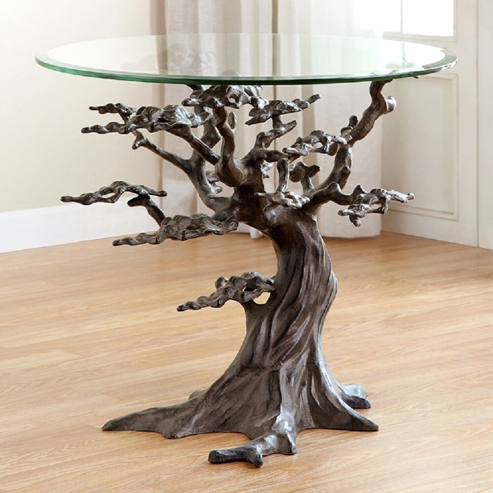 Coastal Cypress Tree Metal Glass End Side Table Sculpture