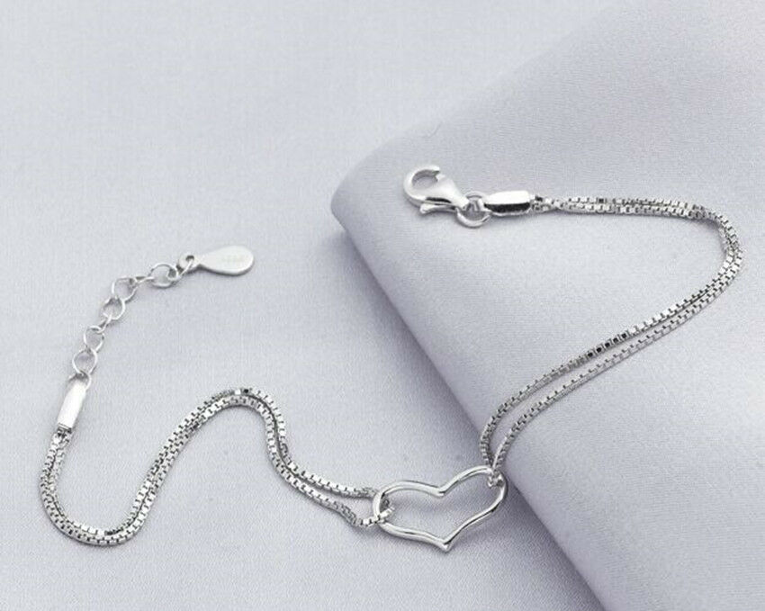 Fashion new 925 Sterling Silver Plated Bracelet Silver ...