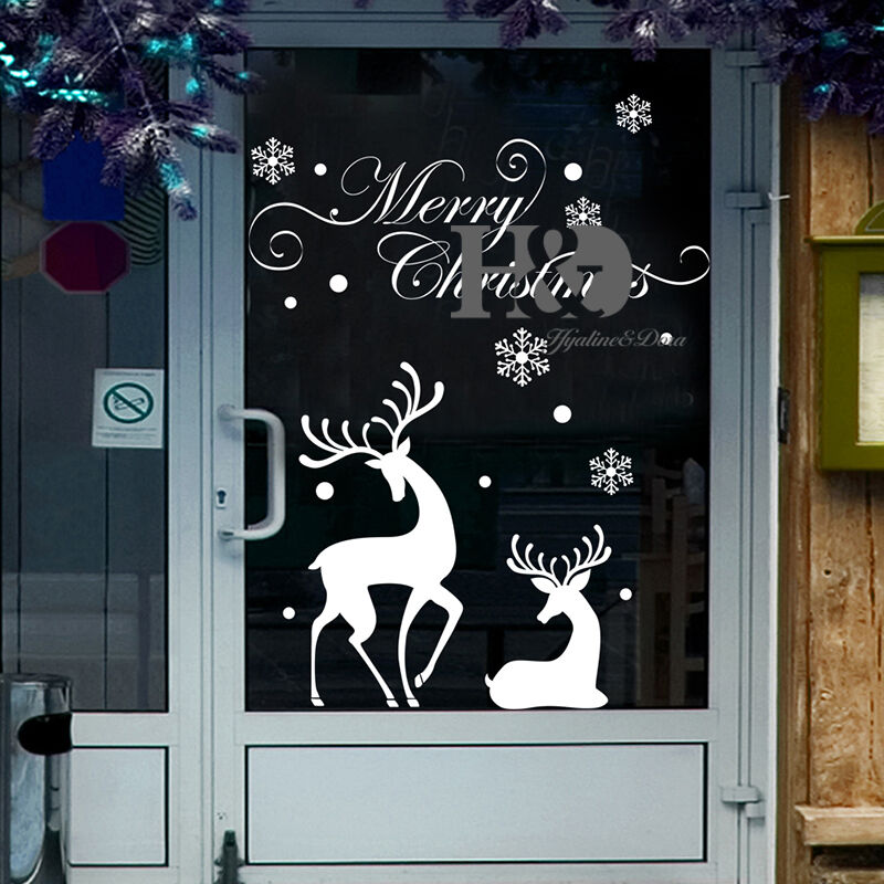 christmas reindeer mural removable wall sticker decal home shop window decor ebay. Black Bedroom Furniture Sets. Home Design Ideas