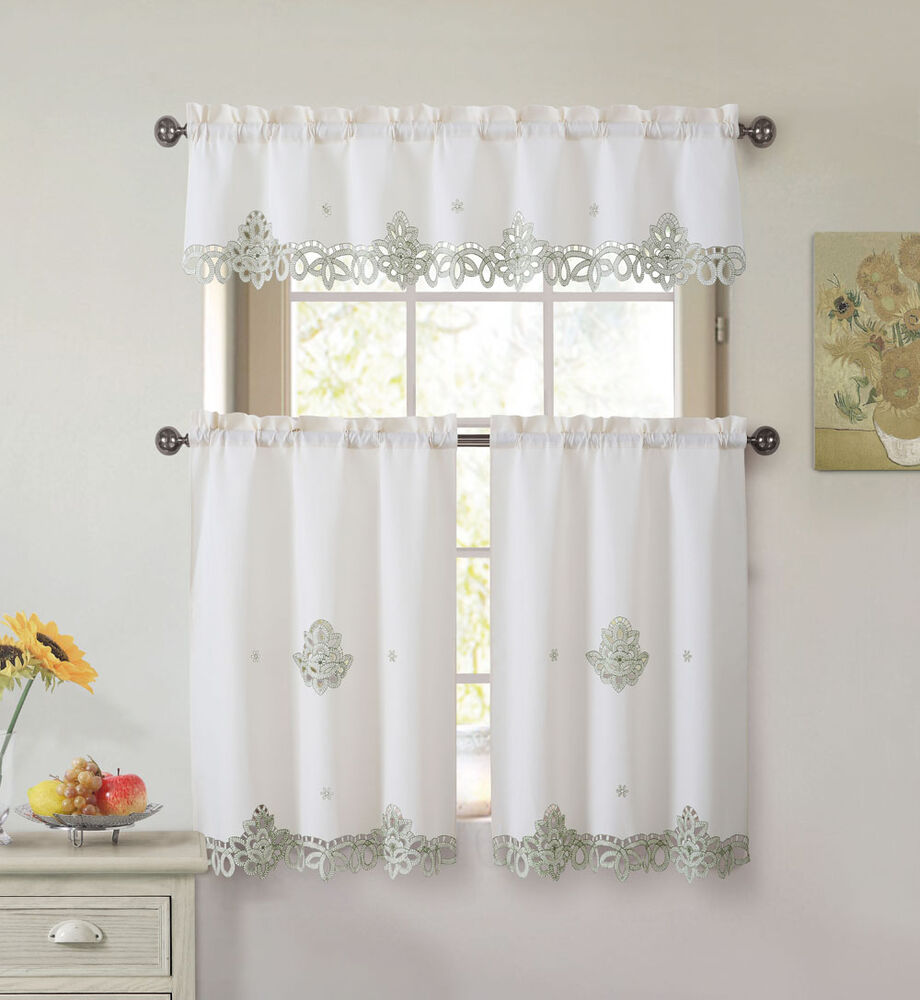 Beige Kitchen Accessories: 3 Piece Doily Embroidered Kitchen Window Curtain Set
