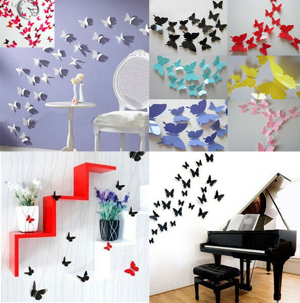 Butterfly Home Decor: ACGM 12Pcs 3D DIY Wall Sticker Stickers Butterfly Home